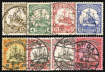 Dt. Kolonien Ostafrika MiNr. 30/37 o Kurzsatz FM: Kaiseryacht - Heller-Werte, Nr.36/37 gepr