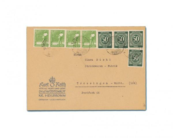 All.Bes. GA Zehnfachfrankatur-Brief West vom 21.6.1948, mit Ziffern- oder Arbeiter-Marken