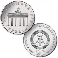 DDR Münze 1990, 20 M, CuNi/st Öffnung Brandenburger Tor