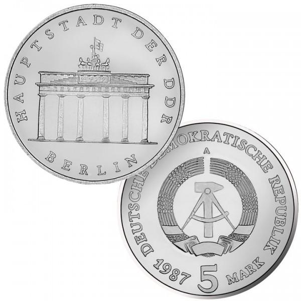 DDR Münze 1987, 5 M, st 750 Jahre Berlin / Brandenb. Tor
