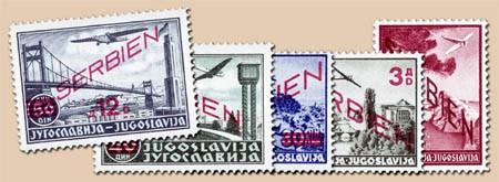 Dt. Besetzung Serbien MiNr. 26-30 ** Flugpostmarken m.Aufdruck Serbien +neuer Wert