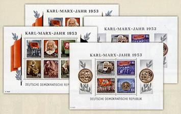 DDR Bl. 8/9AB ** MiNr. 386/95A/B Karl-Marx-Blockpaare