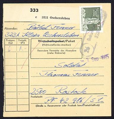 DDR Paketkarte mit MiNr. 1968 1,-M Aufbau i.d. DDR: Sowjet. Ehrenmal
