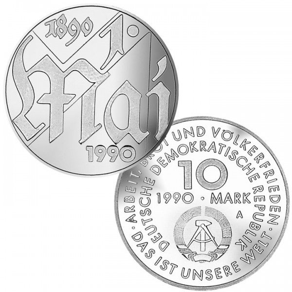 DDR Münze 1990, 10 M, st 100 Jahre Tag der Arbeit: 1. Mai