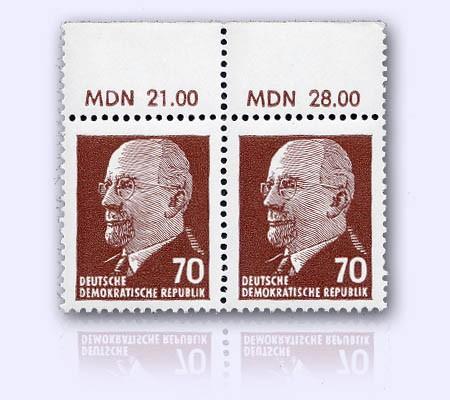 """DDR MiNr. 938 ZxI Or2 ** Pärchen m.Oberrand """"MDN"""" Freimarken: Ulbricht"""