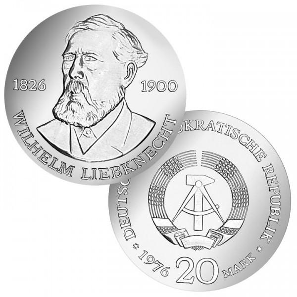 DDR Münze 1976, 20 M, st 150. Geburtstag W. Liebknecht