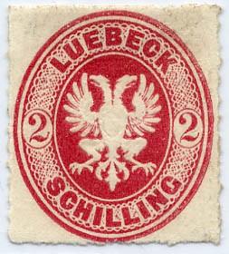 Lübeck MiNr. 10A (*) 2 Schilling Dst.12 o.Wz karmin