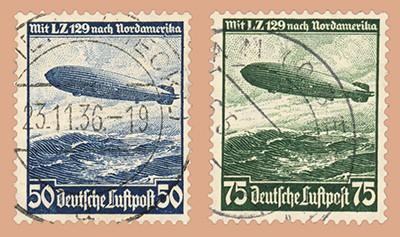 Dt. Reich MiNr. 606/07X o Für d. Fahrten des L.Z.129 n.Nordamerika