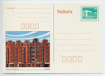 DDR Ganzsache P 91 * 10Pf. Bildpostk.Rostock-Fünf-Giebel-Haus