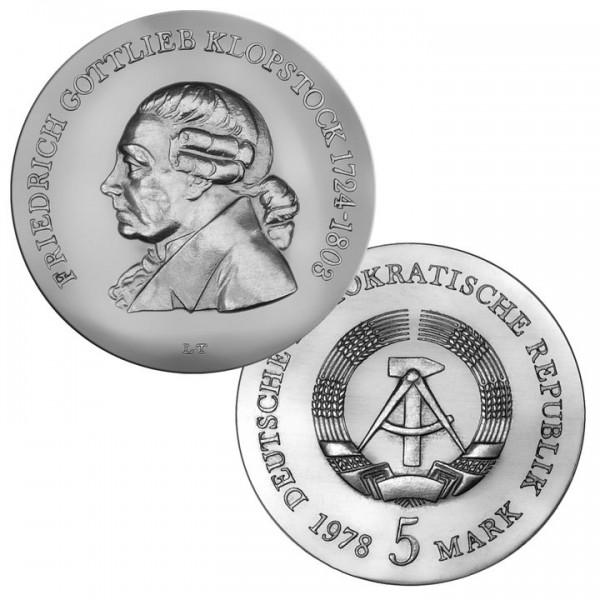 DDR Münze 1978, 5 M, PP 175. Todestag F. G. Klopstock