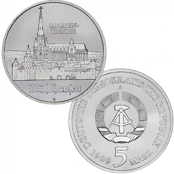 DDR Münze 1989, 5 M, PP Marienkirche Mühlhausen