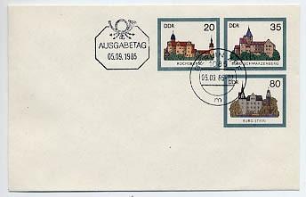 DDR Ganzsache U 2 o 1.35 Burgen 1985