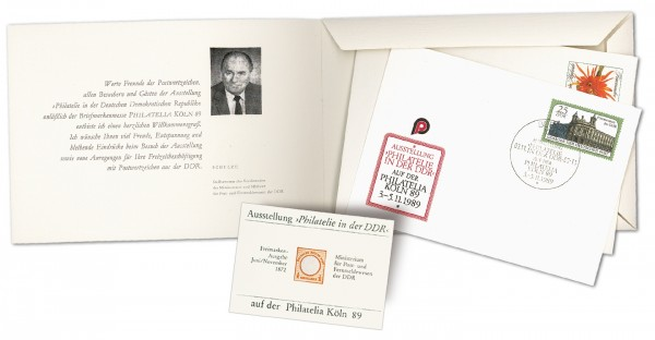DDR Offizielle Messemappe zur Philatelia Köln 1989 mit Vignette Sonderprägedruck Dt. Reich Nr. 1