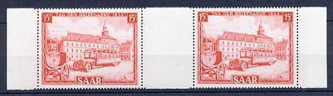 Saarland MiNr. 349 ** ZW-Paar Tag der Briefmarke 1954