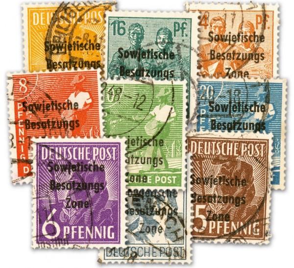 SBZ Allg.A. MiNr. 182-97 o (16 Werte) Arbeiterserie mit Aufdruck