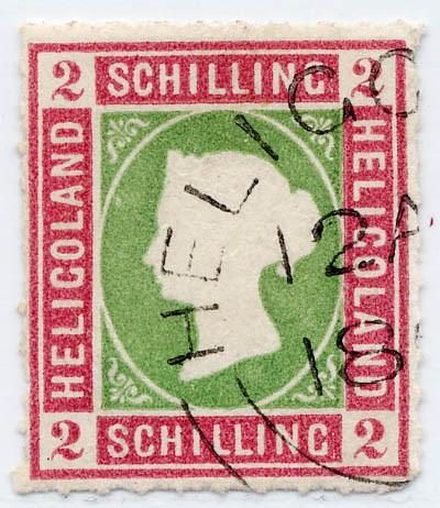 Helgoland MiNr. 3 o 2 S lilakarmin/dkl.gelblichgrün