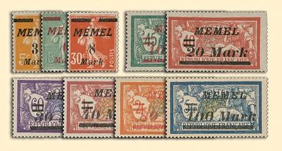 Memelgebiet MiNr. 110/118 ** Freimarken Frankreich mit Aufdruck