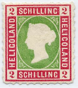 Helgoland MiNr. 3 (*) 2 S lilakarmin/dkl.gelblichgrün