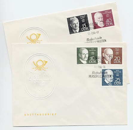 DDR FDC MiNr. 1386/90 Berühmte Persönlichkeiten (II)