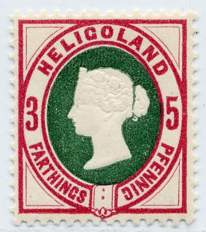 Helgoland MiNr. 13b ** 3Pf/5F lilakarmin(rot)/grün