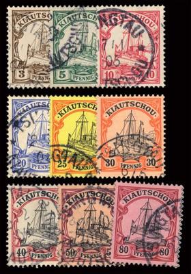 Dt. Kolonien Kiautschou MiNr. 5/13 o FM: Kaiseryacht - nur Pf-Werte (Kurzsatz)