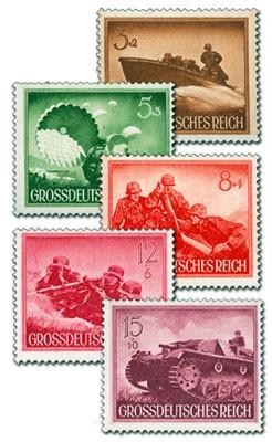 """Dt. Reich MiNr. 873/80x (5 Werte) ** Heldengedenktag (5 W. in """"x-Gummierung"""")"""