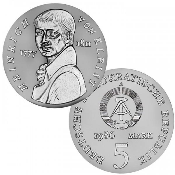 DDR Münze 1986, 5 M, PP 175. Todestag Heinrich v. Kleist
