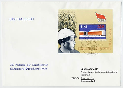 DDR FDC Bl. 45 MiNr. 2125 9. Parteitag d. SED