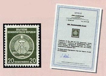 DDR Dienstmarken A MiNr. 22xI XI ** mit FA Bdr. / 20 Pf. / schwarzgelboliv / Typ I / Wz. XI