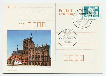 DDR Ganzsache P 92 o 0,25 DM Bildpostk.Stralsund