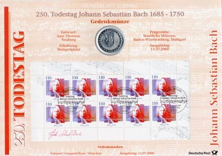 BRD Numisblatt 3/2000 250.Todestag von Joh. Sebastian Bach