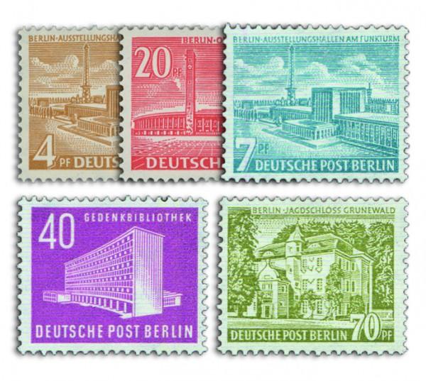 Berlin Ergänzungswerte Berliner Bauten II+III 5 Werte postfrisch