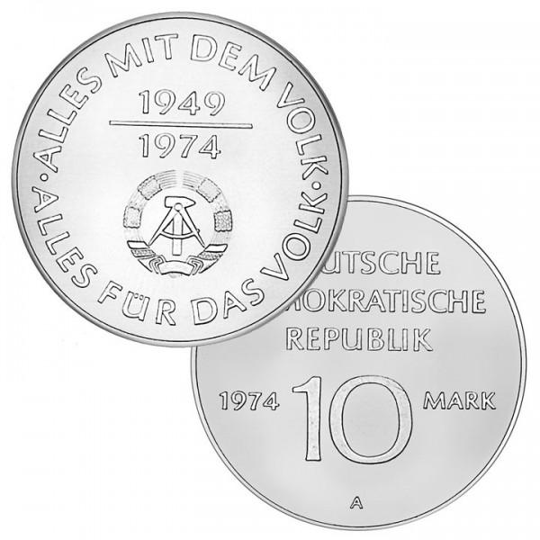 DDR Münze 1974, 10 M, vz 25 Jahre DDR (Zweckinschrift)