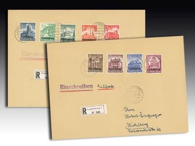 Dt. Besetzung Luxemburg MiNr. 33/41 Winterhilfe 2 Briefe:1xEinschreiben+1xEinschreiben-Eilbrief
