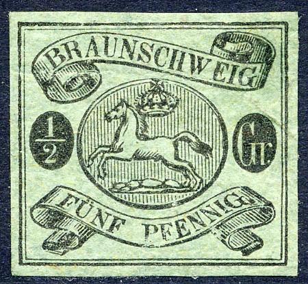 Braunschweig MiNr. 10A * 5 Pfennige / schwarz auf graugrün
