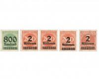 "Dt. Reich Farben-Set ""Ziffern im Kreis"" ** 5 Werte: MiNr. 308b, 309APb, 309APc, 309AWb, 312Ab"