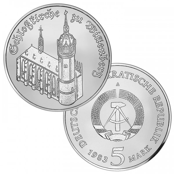 DDR Münze 1983, 5 M, PP Schloßkirche zu Wittenberg