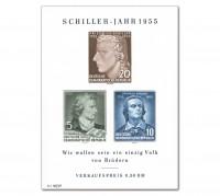DDR Bl. 12 ** MiNr. 464/66B Schiller-Jahr
