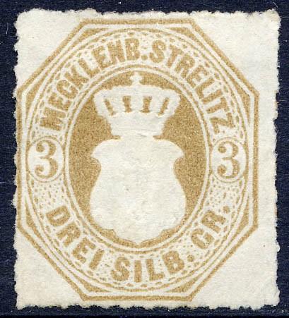Mecklenb.-Strelitz MiNr. 6 (*) 3 Silbergroschen / schwärzlichbraunocker