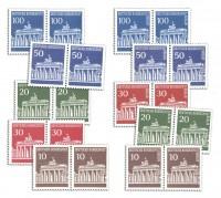 BRD u. Berlin: Brandenburger Tor in Paaren MiNr. 506-510 u. 286-290, postfrisch