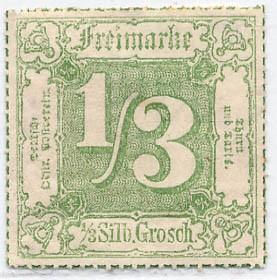 Thurn & Taxis MiNr. 46 * 1/3 Gr. dunkelgelb-grün durchstochen