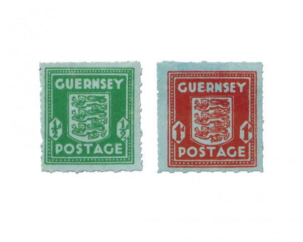 Dt. Besetzung Kanalinseln/Guernsey MiNr. 4-5 ** bläuliches Papier, mit Wz