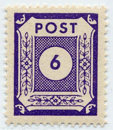 SBZ Ost-Sa. MiNr. 58 c ** Ziffer 6 Pf dunkelviolett