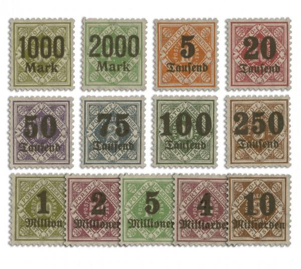 Württemberg Dienstmarken MiNr. 171/83 ** Ziffern mit Aufdruck