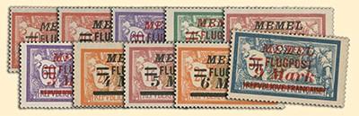 Memelgebiet MiNr. 98/107 ** Freimarken Frankreich mit Aufdruck