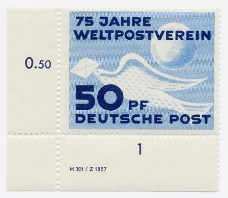 DDR MiNr. 242 ** DV 75 Jahre Weltpostverein
