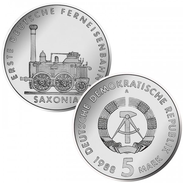 DDR Münze 1988, 5 M, PP Erste deutsche Ferneisenbahn
