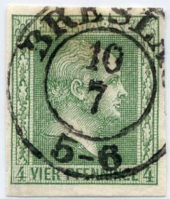 Preußen MiNr. 9b o 4 Pf dkl.olivgrün/ geschnitt/gegitt