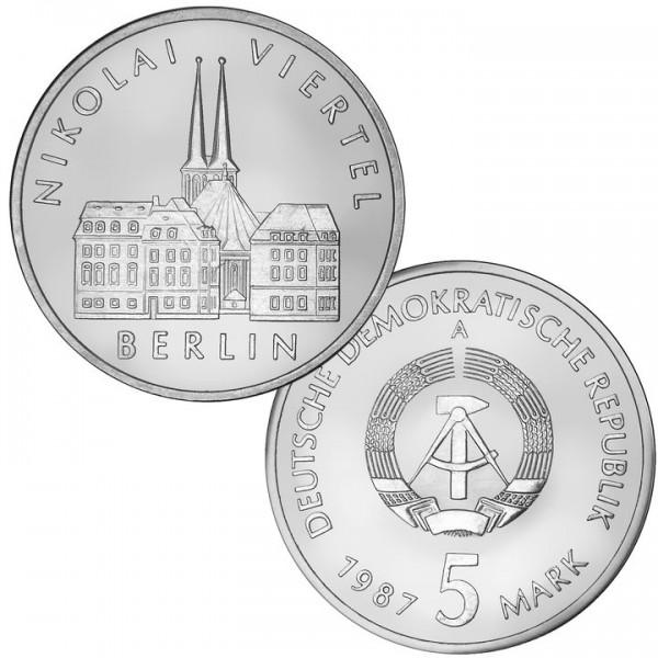 DDR Münze 1987, 5 M, st 750 Jahre Berlin Nikolaiviertel