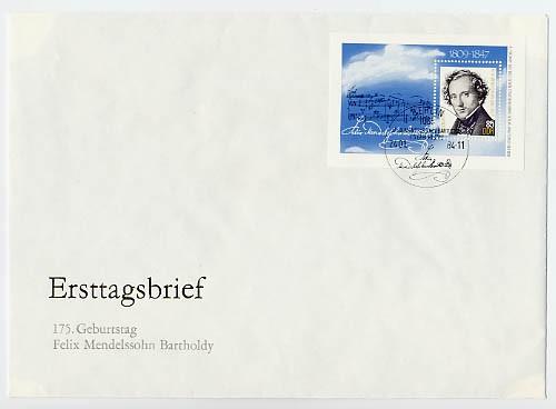 DDR FDC Bl.76 MiNr. 2852 Mendelssohn-Bartholdy